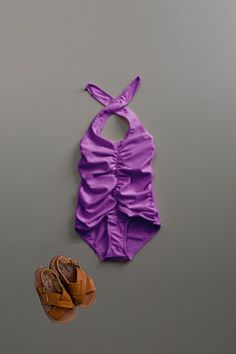 shirred 1 pc swim lav by flora and henri