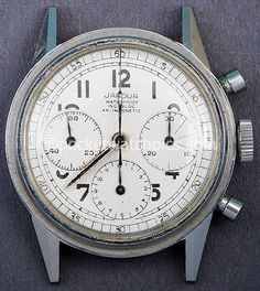 Jardur Chronograph with Valjoux 72 movement. White dial.