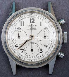 Jardur Chronograph with Valjoux 72 movement. White dial.