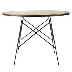 Table de salle à manger en noyer massif et métal L 120 cm Berkley