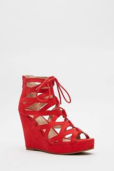 Womens Ladies Red High Wedge Heel Strappy Shoes Sandals Size UK 4,5,6,7,8 New  Click On Link To Visit My Ebay Shop http://stores.ebay.co.uk/all-about-feet  Useful Info:  - Standard Size - Standard Fit - By Super Mode - Red In Colour - Heel Height: 4 Inches - Platform: 1 Inch  - Lace Up Fastening - Back Zip Fastening - Faux Suede Upper - Textile/Other Materials Lining #shoes #sandals #redshoes #red #strappy #strappyshoes #wedge #wedges #wedgeshoes #fashion #footwear #forsale #ebay #womens…