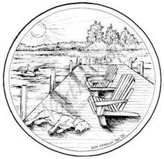 Northwoods Rubber Stamp Dock with Chairs
