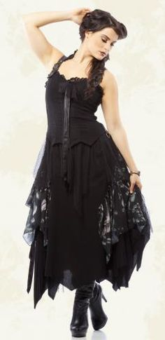 The Goth Aesthetic: Mesh and Chiffon Fancy Dress by Lip Service. $199.