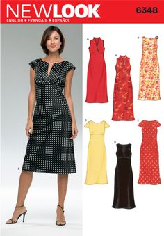 New Look 6348 - Office-style dress with bodice variations.