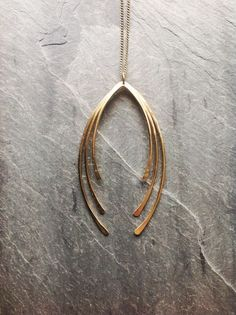 Gold Fringe Tusk Necklace-by Loop Jewelry-14K Gold-fill Geometric-Sterling Silver Geometric-Forged-Hammered Jewelry-Portland Jewelry