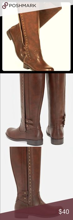 Cognac (just below knee) Boots New. Cognac/Brown Boots. Great faux-leather boots feature a tall shaft with stoned embellishment going up the boot. Received for Christmas, but were a little too snug with my preferred wool socks! Shoes Winter & Rain Boots