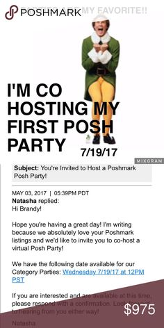 SAVE THE DATE!☝️☝🍾🍾MY FIRST POSH PARTY!!😋 07/18/17 THEME TBA! POSH COMPLIANT CLOSESTS ONLY PLEASE! TAG YOUR CLOSET CRUSHES AS WELL AS YOUR OWN! I CANT WAIT💥💥 Other