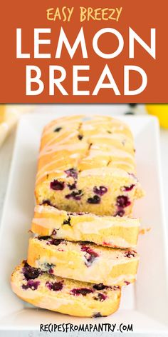 This easy Lemon Bread is bursting with fresh blueberries and bright lemon flavor. Topped with a delicious lemon glaze, this blueberry lemon bread will be your new favorite quick bread recipe! Make with fresh or frozen blueberries, this lemon loaf is great for brunch, breakfast on the go, or as an anytime snack. Click through to get this awesome Blueberry Lemon Bread Recipe!! #lemonbread #blueberrylemonbread #lemonloaf #lemonglazeloaf #lemonglazebread #lemonblueberrybread #bakingrecipe Easy Holiday Recipes, Best Dessert Recipes, Sweets Recipes, Baking Recipes, Snack Recipes, Breakfast Recipes, Tasty Bread Recipe, Quick Bread Recipes, Easy Bread