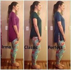 Here's the length size difference between the Lularoe Irma Tunic, Classic Tee and Perfect Tee. Get yours today by joining my VIP group on FB now! Lularoe Kandi Shop!!