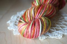 Hand Dyed Yarn / Red Green Gold Chartreuse by phydeauxdesigns, $25.00