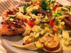 Mediterrán sok zöldséges sajtos tészta sült csirkemellel