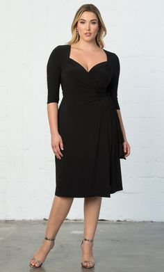 Check out the deal on Sweetheart Knit Wrap Dress at Kiyonna Clothing