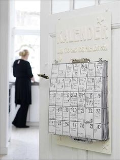 large calendar with room for the whole family activities.