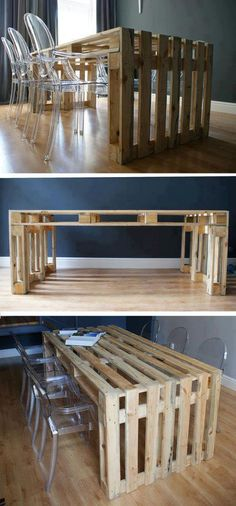 What a cool idea, making a dining room table out of shipping pallets