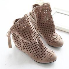2016 nova moda Big size 43 botas de verão mulheres se juntam sapatos baixos baixa cunhas ocultas sólida recortes Ankle Boot senhoras sapatos casuais alishoppbrasil