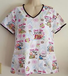 DEAR GOD KIDS Women's Scrub Top Uniform Small, nursing, pediatric, vet, dental #DearGodKids