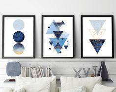 Set of 3 Prints, 3 Print Set, Geometric Print, Geometric Poster, Scandinavian Modern, Scandinavian Print, Scandinavian Art, Blue, Rose Gold
