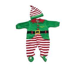 Irge Tutina Neonato Ciniglia Natalizia Vestito + Cappello ELFO Colore Verde  Elfo e93baa6a14b9