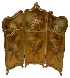 French Vernis Martin Louis XV style three part screen, 19th c.,