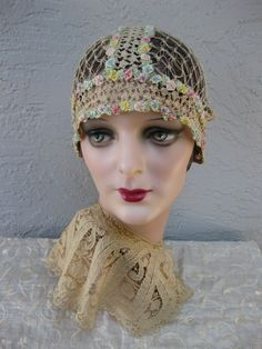 1920s Flapper Cloche Boudoir Cap with Ribbon by TheButlersCottage, $250.00