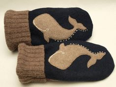 Men Gloves Whale Mittens Felted Wool Whale Sweater Mittens Dark Blue and Brown Applique Fleece Lining Leather Palm Eco Friendly Upcycled- perf