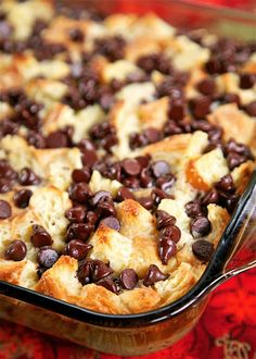 Chocolate Croissant Breakfast Bake - buttery croissants, cream cheese, sugar, eggs, milk and chocolate. Can assemble and refrigerate overnight. This is incredibly delicious! Can eat for breakfast or dessert. Perfect for Christmas morning!!