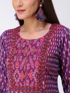 Purple Panelled Ikat Cotton Kurta - All About Salwar Designs, Simple Kurti Designs, Sari Blouse Designs, Kurta Designs Women, Kurti Designs Party Wear, Neck Designs For Suits, Blouse Neck Designs, Cotton Dress Indian, Indian Dresses