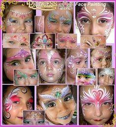 cute and easy face paint for 5 or 6 year old girls   ... facepainting for girls, prinsess ansiktsmålningar för flickor