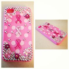 Swarovski crystal iPhone 4/4S polka dot breast cancer case. #icedaddiction #etsy
