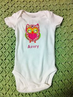 Personalized Owl Applique Onesie $14.  Add a name to onesie for free!  Great gift for any baby girl!