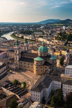 Salzburg,Austria Dom zu Salzburg is the large edifice with the patina covered domes.