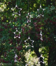 Starry Night Hanging Mobile - Artisan copper wire and glass beaded star shaped sun catcher.
