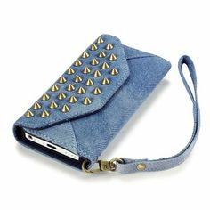 Iphone 5C - denim & solid color studded wallet case with card slots & strap in assorted colors