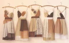 bridesmaids dresses in chocolate brown, medium brown, tan, cream, and ivory by Armour sans Anguish