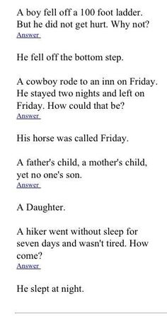 Funny riddle of the day To Make You LOL 👈🏻🍺😎😁👍 riddles with answers riddles with answers funny riddles and brainteasers riddler costume . Funny Riddles, Jokes And Riddles, Funny Jokes, Stupid Jokes, Hilarious, Jokes For Kids, Dad Jokes, Brain Teasers Riddles, Brain Teasers With Answers