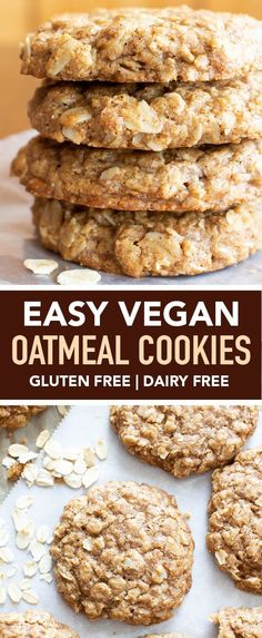 Easy Vegan Oatmeal Cookies GF a Simple recipe for the BEST Vegan Oatmeal Cookies Chewy moist centers with crispy caramel-y edges packed with comforting oatmeal Recipe at Vegan Oatmeal Cookies, Oatmeal Cookie Recipes, Healthy Cookies, Healthy Sweets, Healthy Baking, Healthy Food, Oatmeal Cookies With Applesauce, Simple Oatmeal Cookies, Best Vegan Cookie Recipe