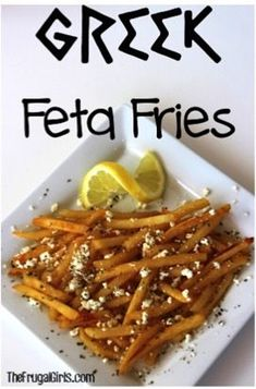 If you're looking for a tasty potato side dish to your dinner. you'll love this Greek Fries Recipe! I was at one of our favorite Greek restaurants, and ordered some Greek Fries with my pita. Feta Fries Recipe, Greek Fries, Greek Cooking, Potato Side Dishes, Cooking Recipes, Healthy Recipes, Cooking Tips, Hamburgers, Mets