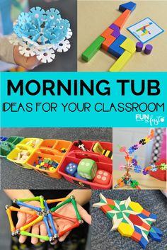 Tub Ideas for your Classroom Morning Tubs are a great way to allow your students to explore their creativity in your classroom. Check out these ideas for Morning Tubs.Morning Star Morning Star or Morningstar may refer to: First Grade Classroom, New Classroom, Kindergarten Classroom, Classroom Activities, Classroom Ideas, Classroom Organization, Dollar Tree Classroom, Kindergarten Morning Work, Kindergarten Centers