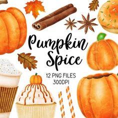 Fall Clipart Autumn Clipart Fall Harvest Clipart Pumpkins | Etsy Pumpkin Vase, Pumpkin Cupcakes, Cute Pumpkin, Pumpkin Spice Latte, Squirrel Clipart, Autumn Doodles, Fall Clip Art, Coffee Latte, Latte Art