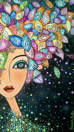 Illustration Art par Romi Lerda Could be done with Quilling Doodle Art, Arte Popular, Whimsical Art, Art Plastique, Face Art, Medium Art, Painting Inspiration, Art Drawings, Art Projects