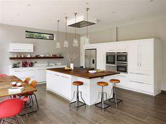A modern%44 open-plan Harvey Jones Linear kitchen design