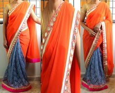 Code: RS026  Half and half saree with orange georgette for outer half finished with pink mirror,gold borders and self designed grey net fabric for pleats finished in pink patti with kundan work border and orange piping.  Blouse: Pink semi raw silk for body and designer net fabric for pattern  Price: INR 3600  Please mail us at ramanisarees@gmail.com