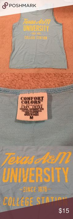 Blue Texas A&M Comfort Colors Tank Gently used blue Texas A&M Comfort Colors tank. Tank is has faded slightly but other than that it is in good condition! comfort colors Tops Tank Tops