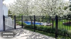 Classic wrought iron backyard fence and gate - Ameristar assembly fence # ameristar . Classic wrought iron backyard fence and gate – Ameristar assembly fence # ameristar Small Fence, Front Yard Fence, Farm Fence, Wrought Iron Fences, Metal Fence, Aluminum Fence, Bamboo Fence, Fence Landscaping, Backyard Fences