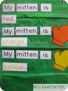 Colorful Mittens sight word practice - also make the color words without color to work on reading the letters and not the color.