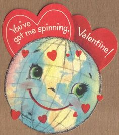 Vintage Valentines Day Card ANTHROPOMORPHIC World Globe
