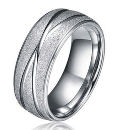 The smooth intersecting grooves make this ring unique.  The looping groove wraps the entire band, intersecting on opposite ends.  This 8mm Titanium band has a b