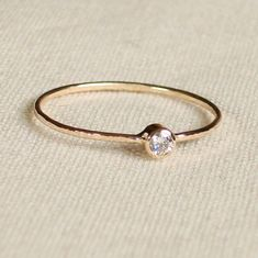 Choose a Stone - Thread of Gold - Tiny Stacking Ring with 14k Gold Set Faceted Stone of Your Choice - Delicate Jewelry