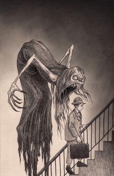 Monster (By: #JohnKenn)                                                                                                                                                     Más #PanicAttackDrawing #PanicAttackIllustration