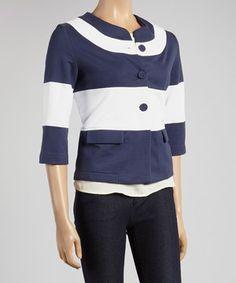 Navy Stripe Swing Blazer by Colour Works #zulily #zulilyfinds